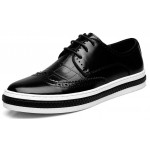 Black Vintage Patent Leather Lace Up Baroque Mens Oxfords Dress Shoes Sneakers