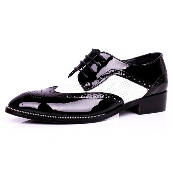 Black White Point Head Lace Up Baroque Mens Oxfords Dress Shoes