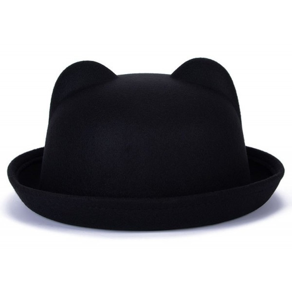 Black Woolen Cat Bear Animal Ears Rolled Brim Dance Jazz Bowler Hat Cap