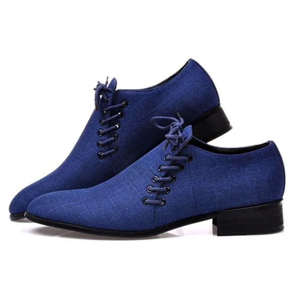 Blue Double Lace Up Mens Oxfords Loafers Dress Shoes Flats
