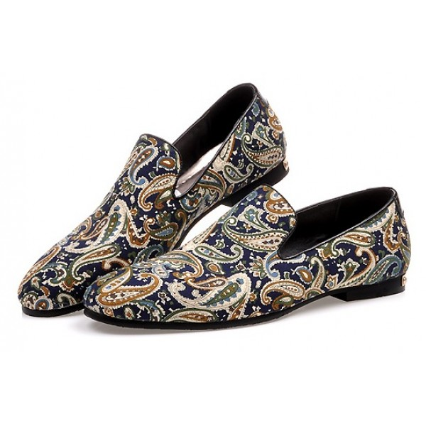 Blue Navy Vintage Paisleys Mens Oxfords Loafers Dress Shoes Flats