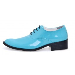 Blue Patent Leather Point Head Lace Up Mens Oxfords Dress Shoes