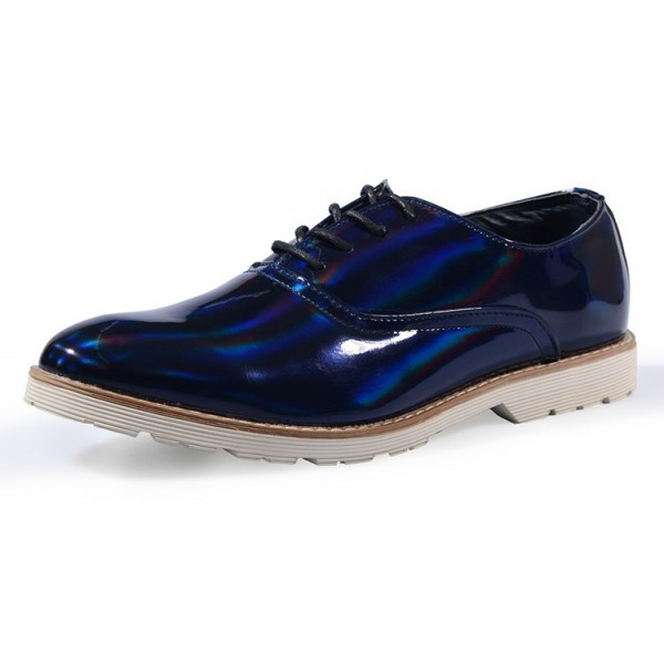 Blue Royal Holographic Laser Mirror Lace Up Mens Oxfords Dress Shoes