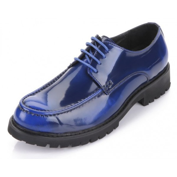 Blue Royal Patent Leather Lace Up Platforms Mens Oxfords Dress Shoes
