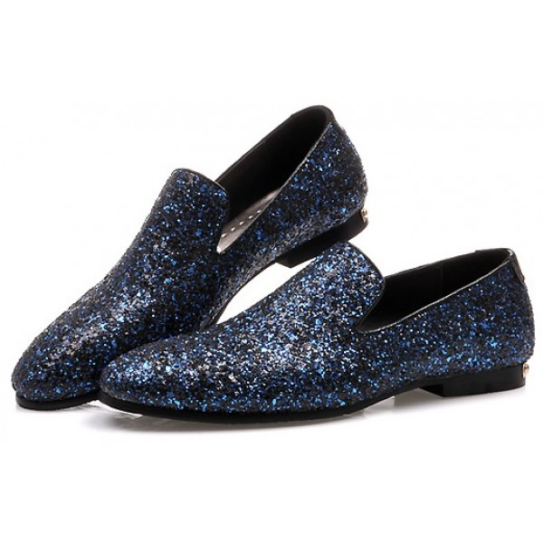 Blue Sequins Glitter Bling Bling Mens Oxfords Loafers Dress Shoes Flats