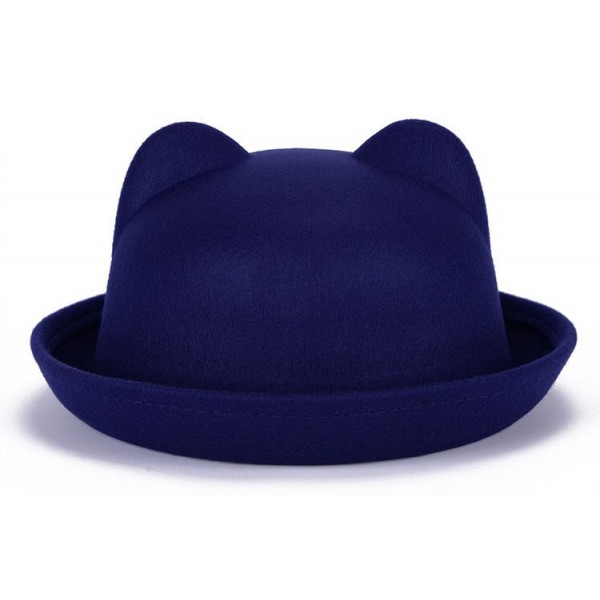 Blue Woolen Cat Bear Animal Ears Rolled Brim Dance Jazz Bowler Hat Cap