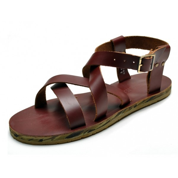 Brown Straps Camouflage Sole Slingback Mens Roman Gladiator Sandals