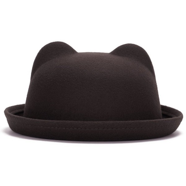 Brown Woolen Cat Bear Animal Ears Rolled Brim Dance Jazz Bowler Hat Cap