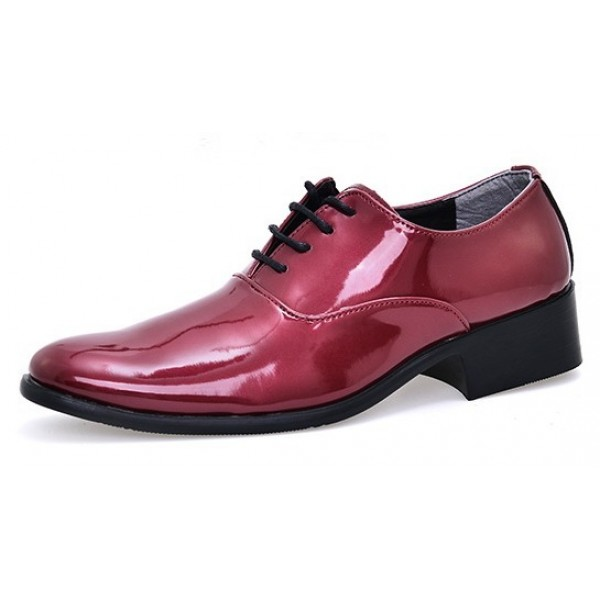Burgundy Patent Leather Point Head Lace Up Mens Oxfords Dress Shoes