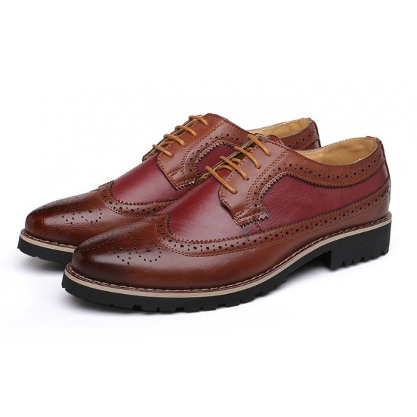 Burgundy Vintage Leather Baroque Lace Up Mens Oxfords Dapper Man Shoes