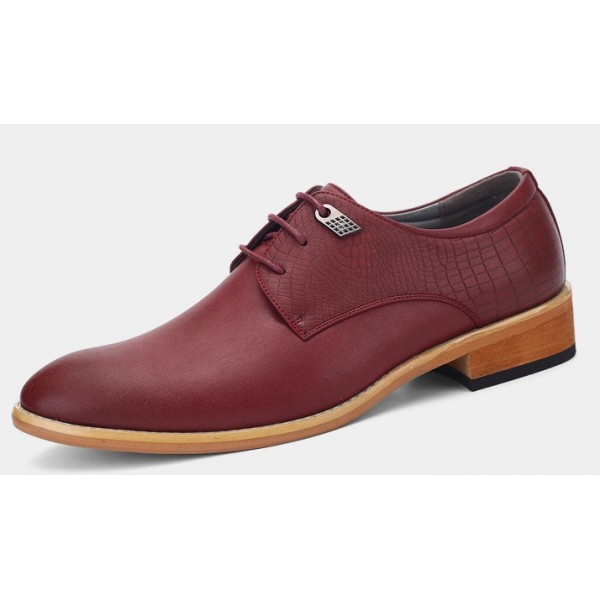 Burgundy Vintage Leather Lace Up Baroque Mens Oxfords Dress Shoes
