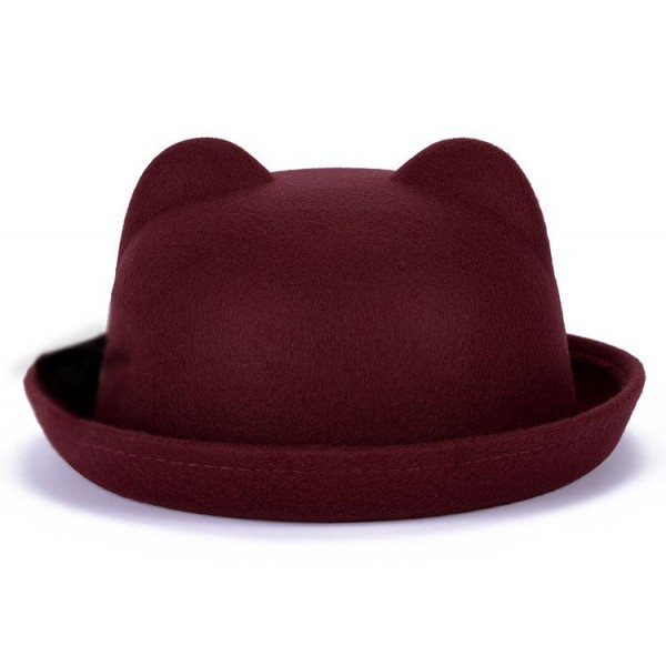 Burgundy Woolen Cat Bear Animal Ears Rolled Brim Dance Jazz Bowler Hat Cap
