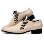 Cream Khaki Beige Double Lace Up Mens Oxfords Loafers Dress Shoes Flats