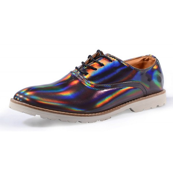 Grey Holographic Laser Mirror Lace Up Mens Oxfords Dress Shoes