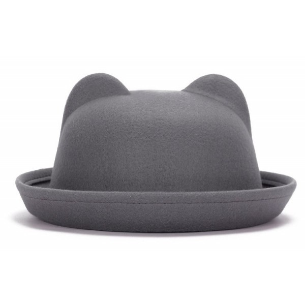 Grey Woolen Cat Bear Animal Ears Rolled Brim Dance Jazz Bowler Hat Cap