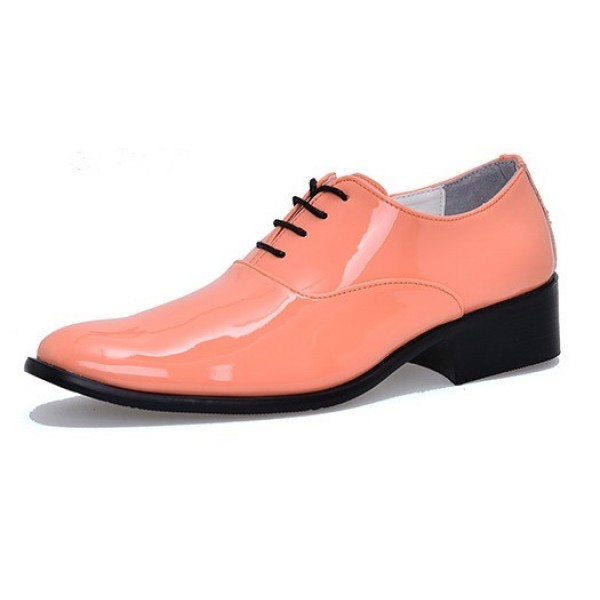 Orange Peach Patent Leather Point Head Lace Up Mens Oxfords Dress Shoes