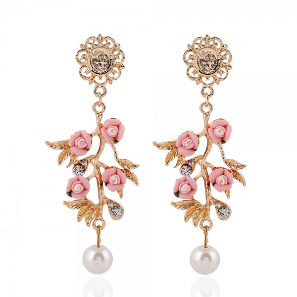 Pink Flowers Gold Pearls Glamorous Earrings Ear Drops