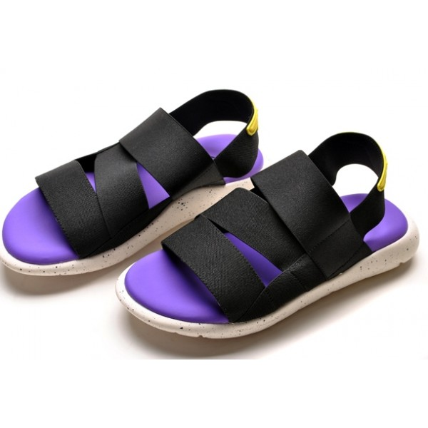 Purple Black Elastic Bends Bandages Thick Sole Mens Gladiator Roman Sandals