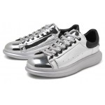 Silver Metallic Mirror Shiny Leather Punk Rock Lace Up Shoes Womens Sneakers