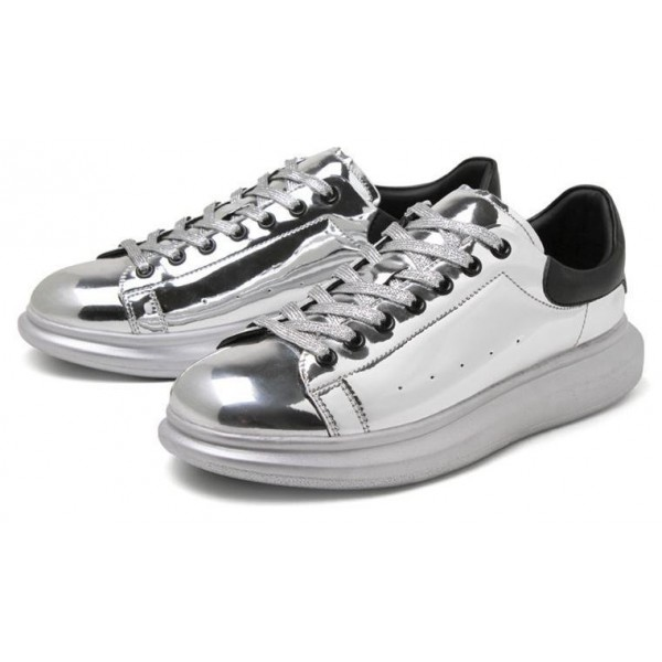 Silver Metallic Mirror Shiny Leather Punk Rock Lace Up Shoes Mens Sneakers