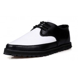 White Black Lace Up Point Head Mens Lace Up Oxfords Dress Shoes