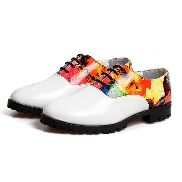White Patent Leather Colorful Painting Lace Up Mens Oxfords Dress Shoes