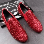 Red Glitter Bling Bling Spikes Punk Rock Mens Loafers Flats Shoes