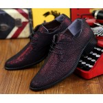 Burgundy Red Metallic Pointed Head Lace Up Mens Oxfords Shoes