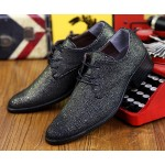 Black Metallic Pointed Head Lace Up Mens Oxfords Shoes