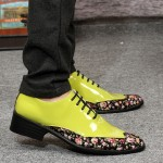 Green Lime Black Florals Patent Pointed Head Lace Up Mens Oxfords Shoes