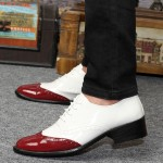 White Burgundy Patent Pointed Head Lace Up Mens Oxfords Shoes