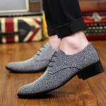 Grey Silver Metallic Pointed Head Lace Up Mens Oxfords Shoes