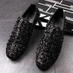 Black Glitter Bling Bling Spikes Punk Rock Mens Loafers Flats Shoes