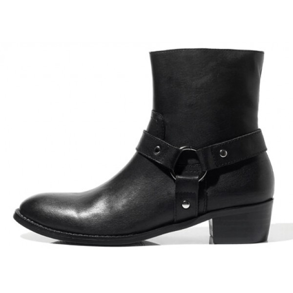 Black Leather Vintage Pointed Head Mens Boots Bootie Shoes