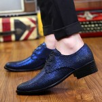 Blue Metallic Pointed Head Lace Up Mens Oxfords Shoes