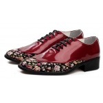 Burgundy Florals Patent Pointed Head Lace Up Mens Oxfords Shoes