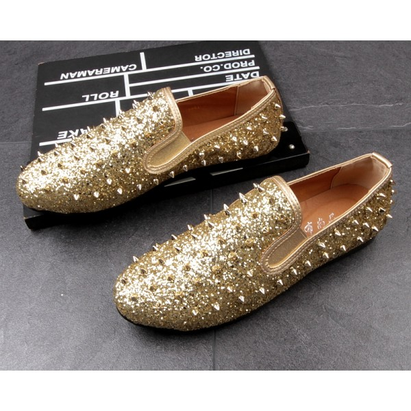 Gold Glitter Bling Bling Spikes Punk Rock Mens Loafers Flats Shoes