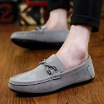 Grey Suede Braided Knit Mens Casual Loafers Flats Shoes