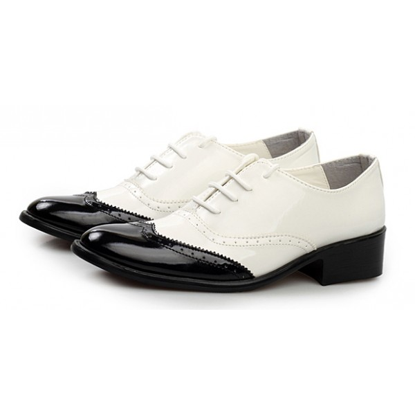 White Black Patent Pointed Head Lace Up Mens Oxfords Shoes