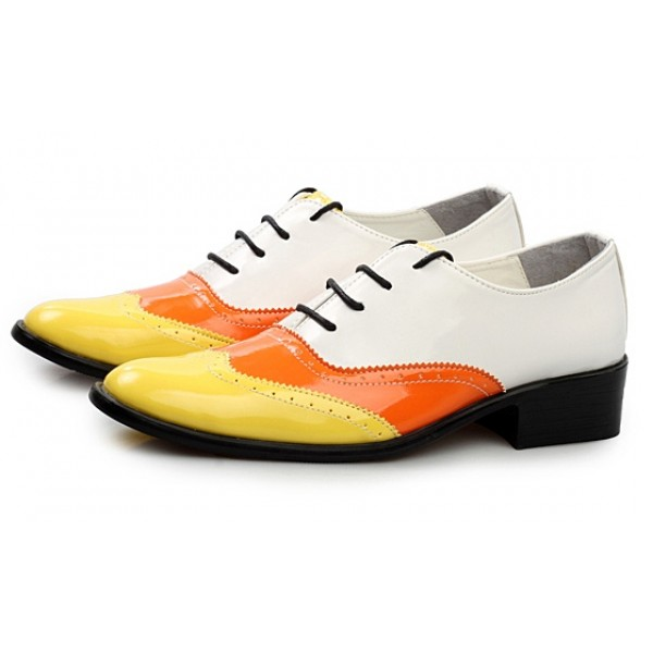 White Orange Patent Pointed Head Lace Up Mens Oxfords Shoes