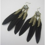 Black Brown Feathers Bronze Metal Bohemian Earrings Ear Drops