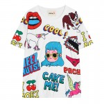 Blue White Harajuku Glasses Girl Unicorn Comic Funky Short Sleeves T Shirt Top