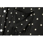 Black White Polkadots Polka Dots Cotton Long Sleeves Blouse Shirt