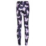 Black Pink Flying Unicorns Yoga Fitness Leggings Tights Pants