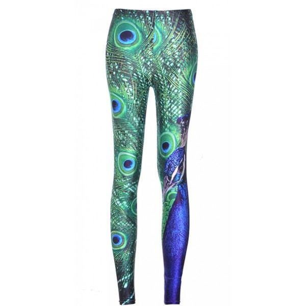 Blue Peacock Feather Yoga Fitness Leggings Tights Pants