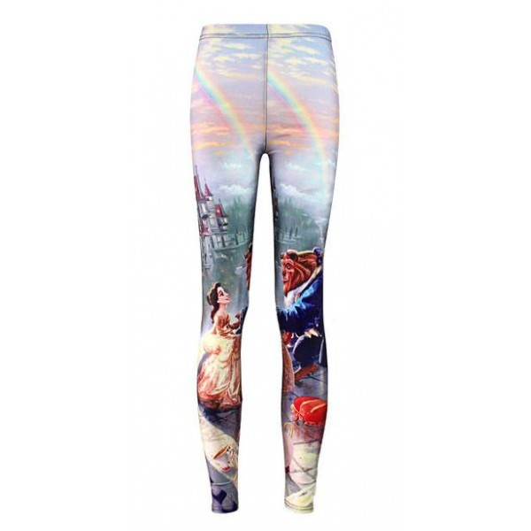 White Beauty Beast Print Yoga Fitness Leggings Tights Pants