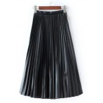 Black Pleated PU Faux Leather Long Skirt Dress