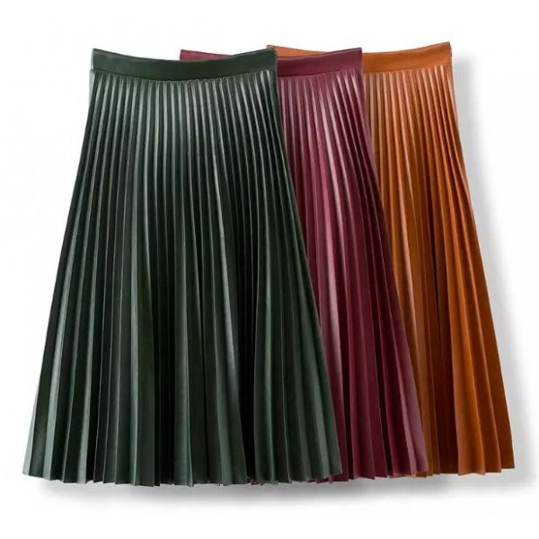 Green Camel Brown Burgundy Pleated PU Faux Leather Long Skirt Dress