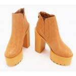 Brown Camel Khaki Punk Rock Chunky Sole Block High Heels Platforms Boots Shoes