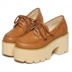 Brown Lace Up Camel Vintage Platforms Punk Rock Chunky Heels Loafers Creepers Shoes